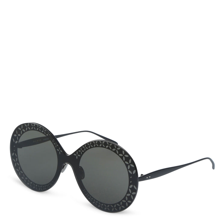 Round-frame metal black sunglasses