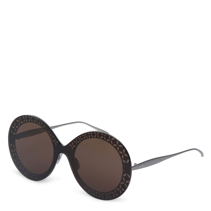 Round-frame metal brown sunglasses