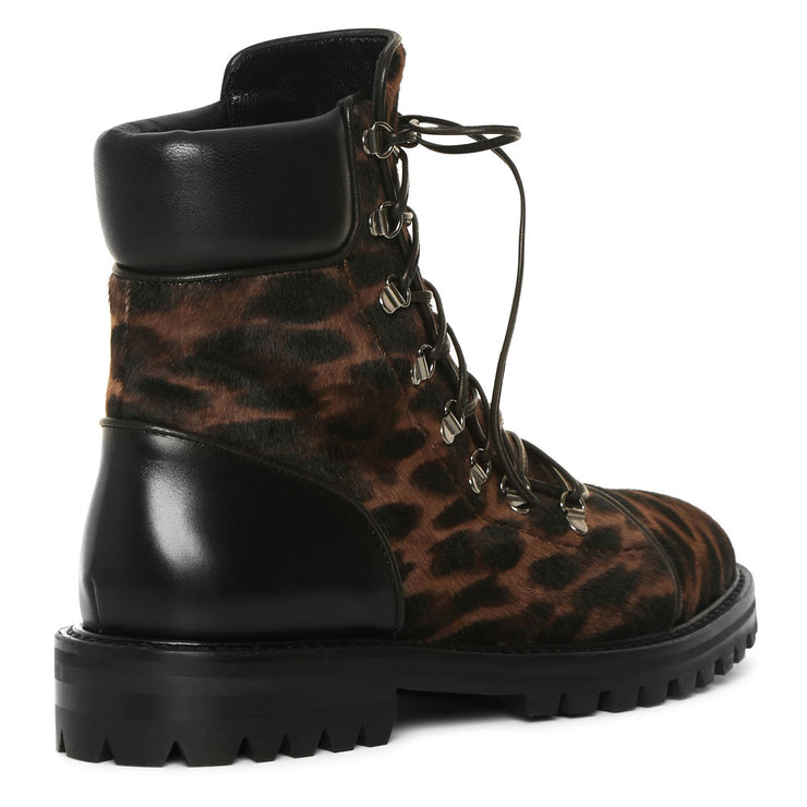 Leopard calf leather boots