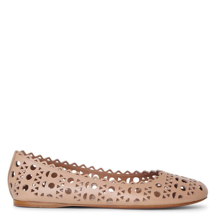 Beige laser cut leather ballet flat