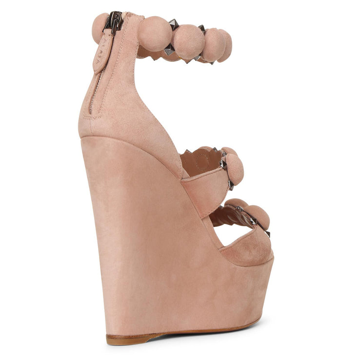 Bombe 140 beige suede wedge sandals