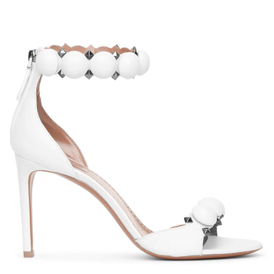 Bombe 90 white calf leather sandals