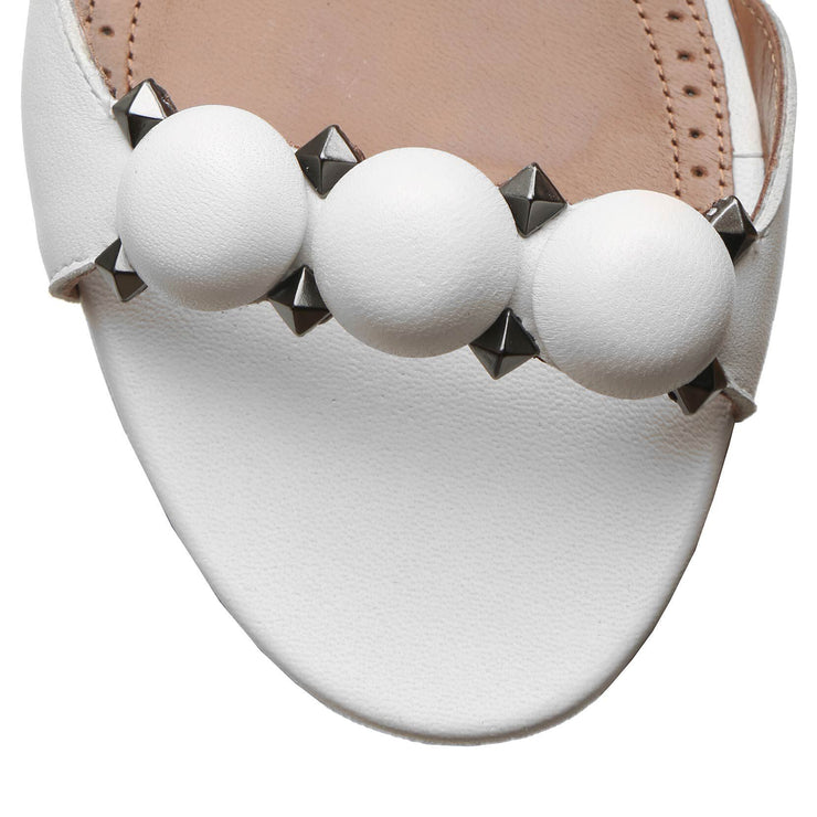 Bombe white calf leather flat sandals