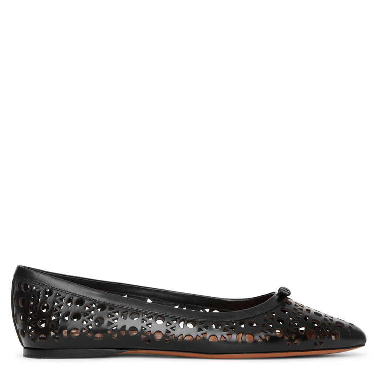 Pointed black leather ballet flats