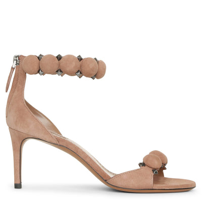 Bombe 70 dark nude suede sandals