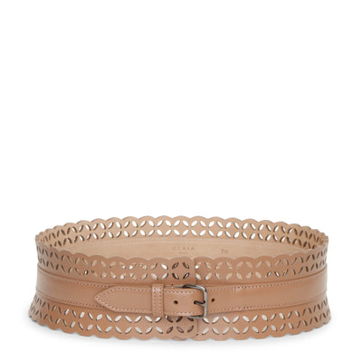 Laser cut dark nude leather belt