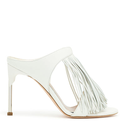 Ivory leather pin heel fringe mules