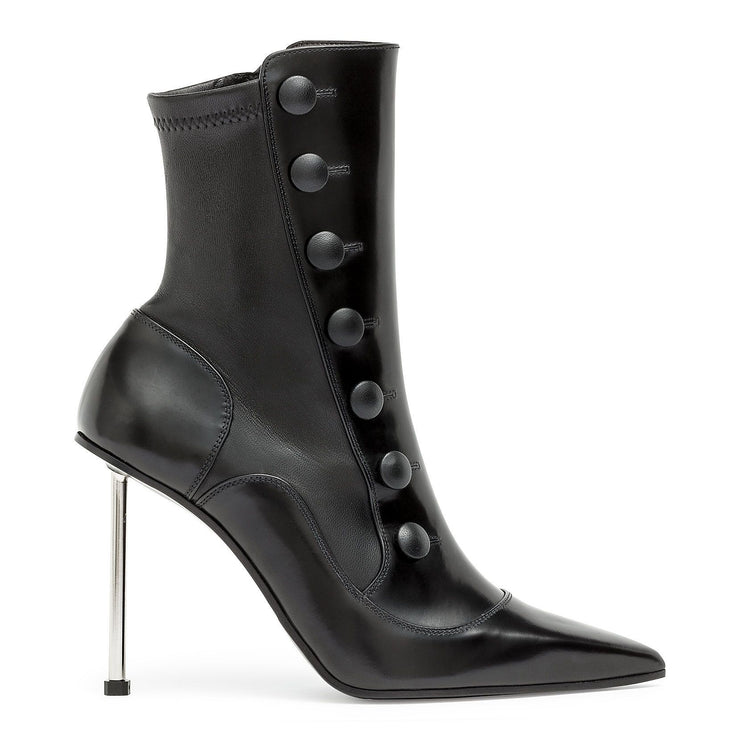 Victorian black leather high heel boot