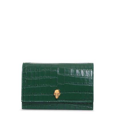 Emerald mini skull bag