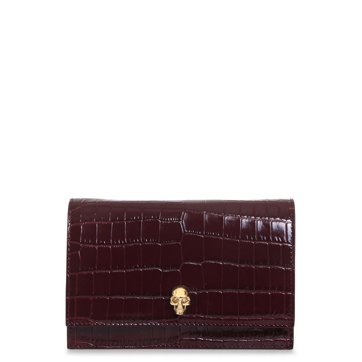 Mini skull burgundy clutch