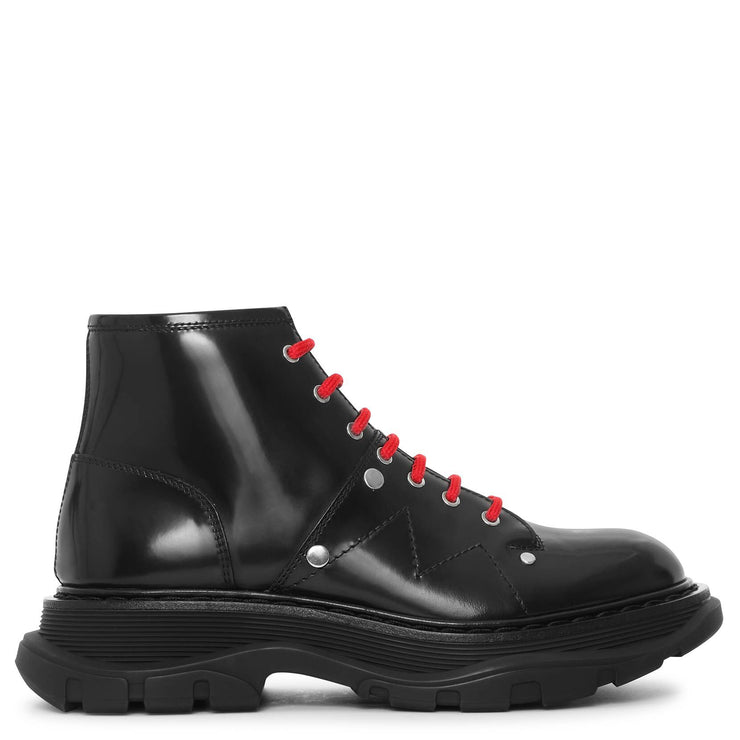 Black thread lace up boots