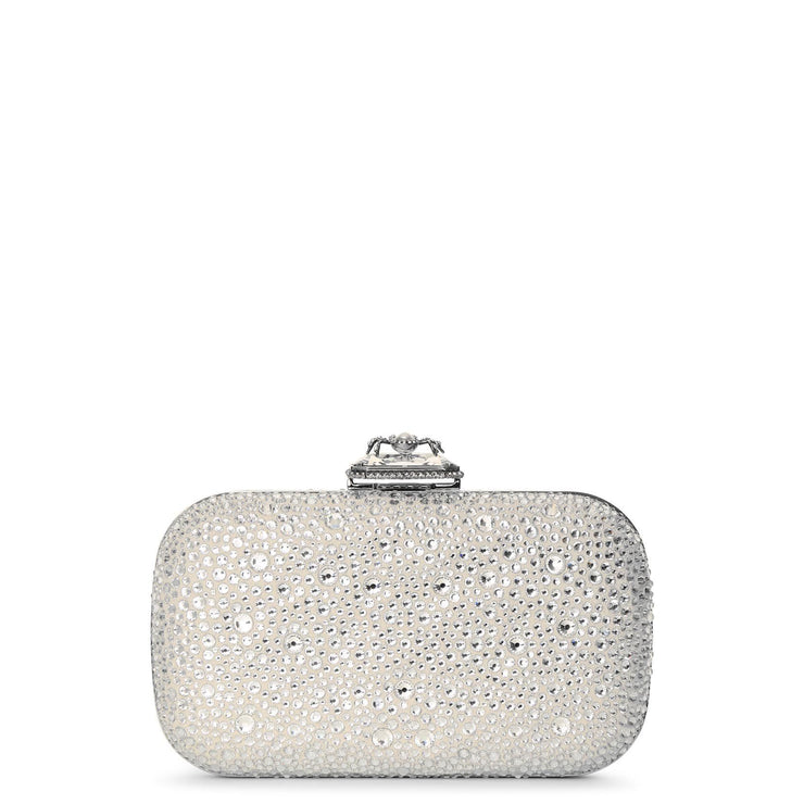 Spider crystal suede clutch