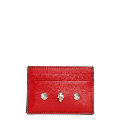 Red skull and stud card holder