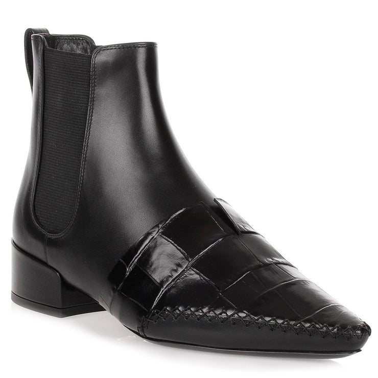 Land black leather embossed chelsea boot