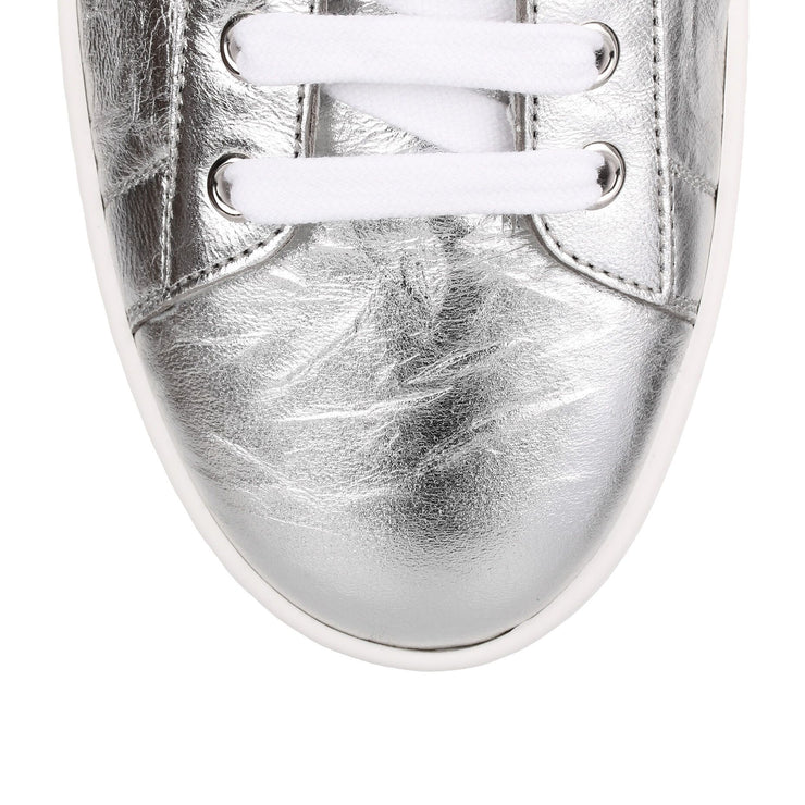 Silver crinkled leather sneaker