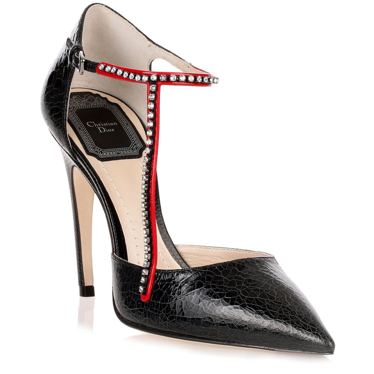 T-Strass black crackled pump