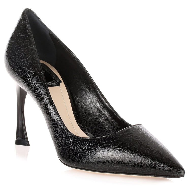 Black crackled leather pump