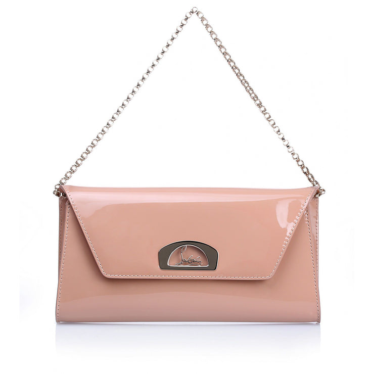 Vero Dodat nude patent leather clutch