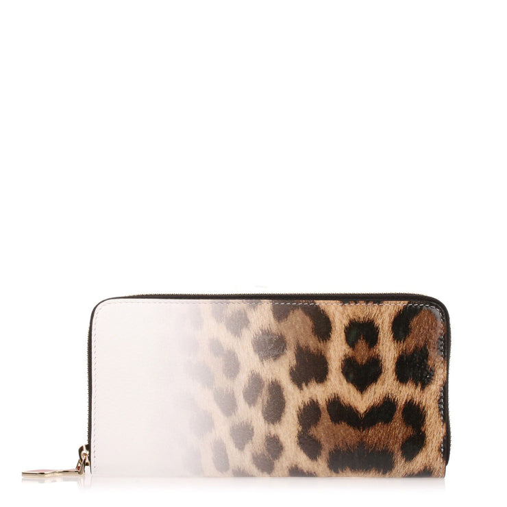 Panettone degrade leopard print leather wallet