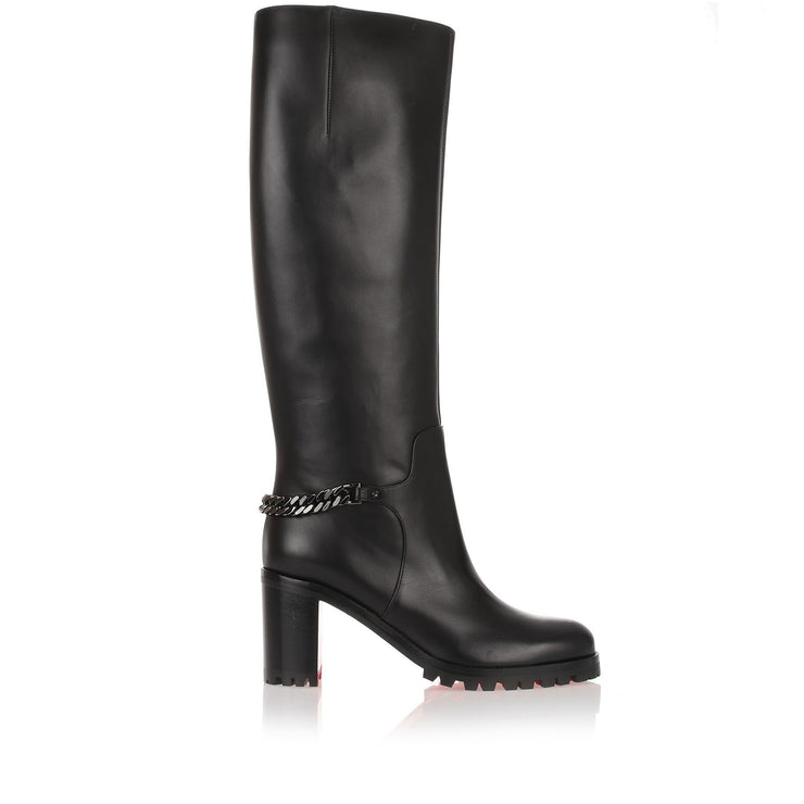 Napoleo 70 black leather chain boot