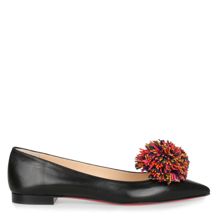 Konstantina Black Leather Pompom Ballerina