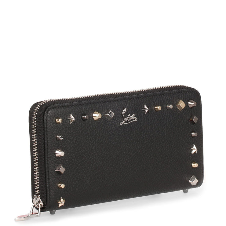 Panettone black leather multi-studs wallet