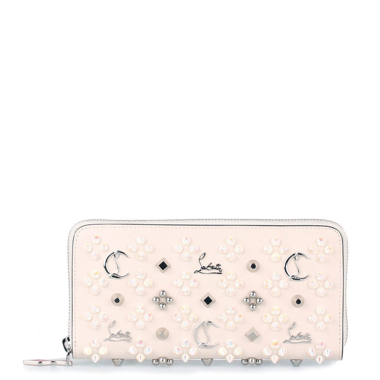 Panettone ivory leather logo studded wallet