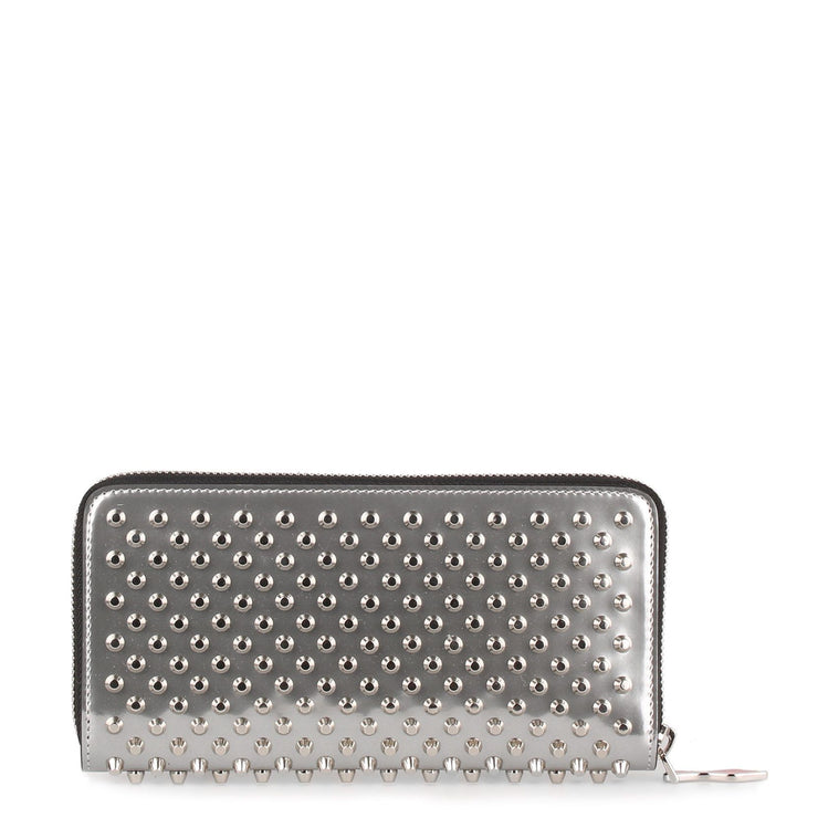 Panettone silver leather studded wallet
