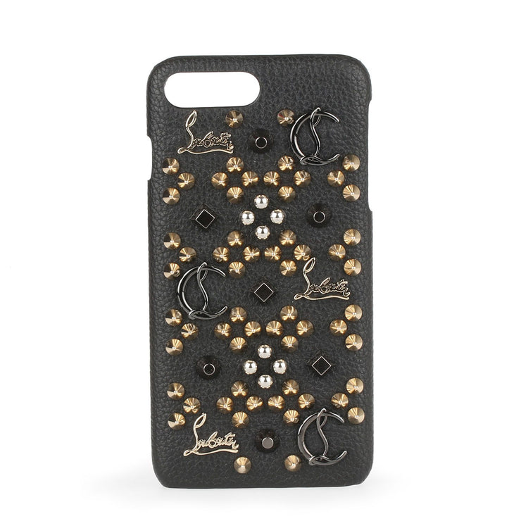 Loubiphone iPhone 7 and 8 Plus black leather phone case