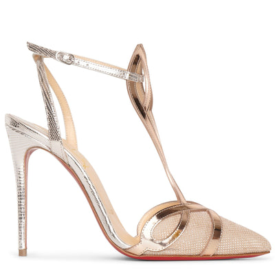 Double L Pump 100 metallic leather