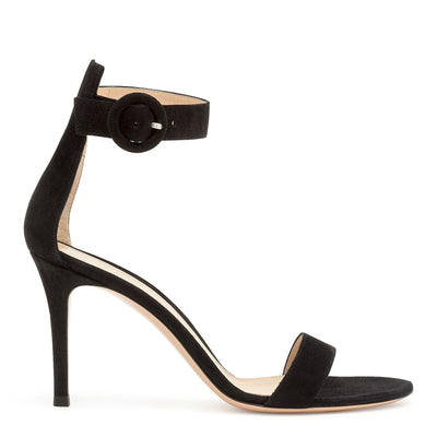 Portofino 85 black suede sandals