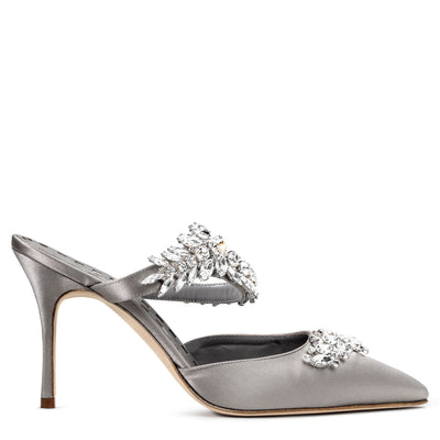 Lurum 90 silver grey satin pumps