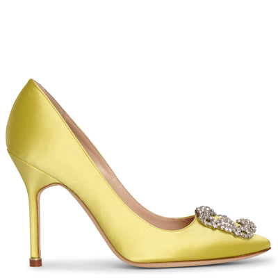 Hangisi 105 chartreuse satin pumps