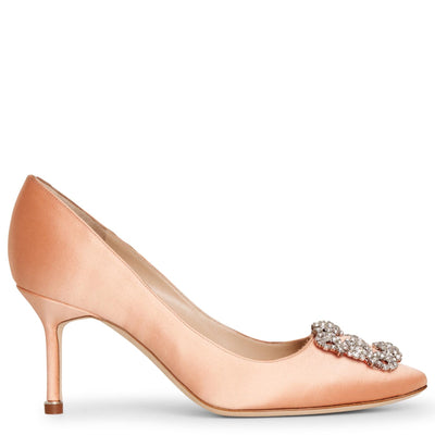 Hangisi 70 coral satin pumps