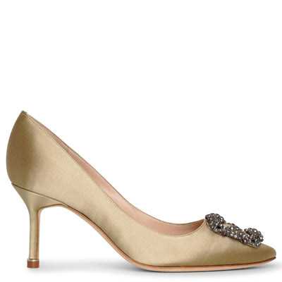 Hangisi 70 beige sage satin pumps