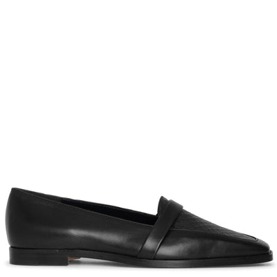 Hydruloa black leather flats