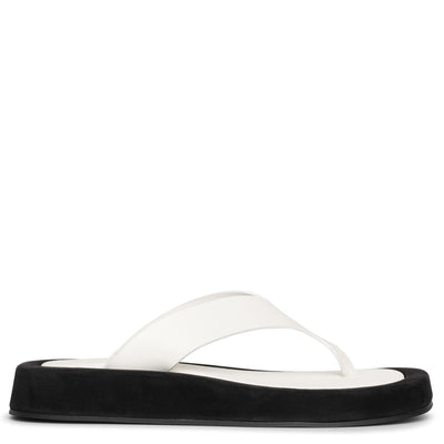 Ginza two-tone leather and suede platform flip flops