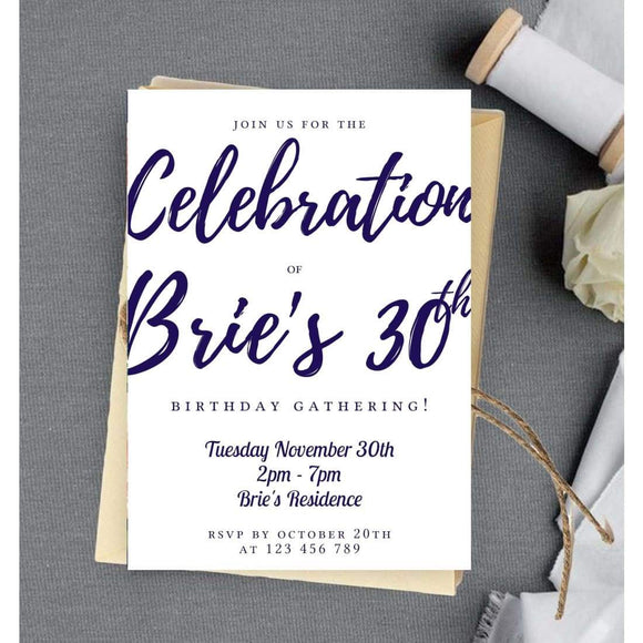 30th Birthday Invitation, Calligraphy Editable Template, Navy Blue BB - You Can Print