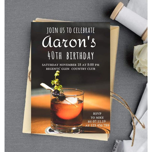 40th Birthday Party Invitation FORTY spirits and glass Editable V - You Can Print
