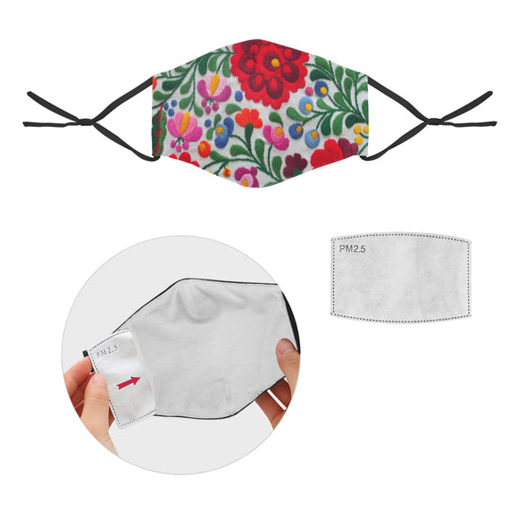 Face Mask Floral 2 Cotton Fabric Dust Cover With Adjustable Strip iP