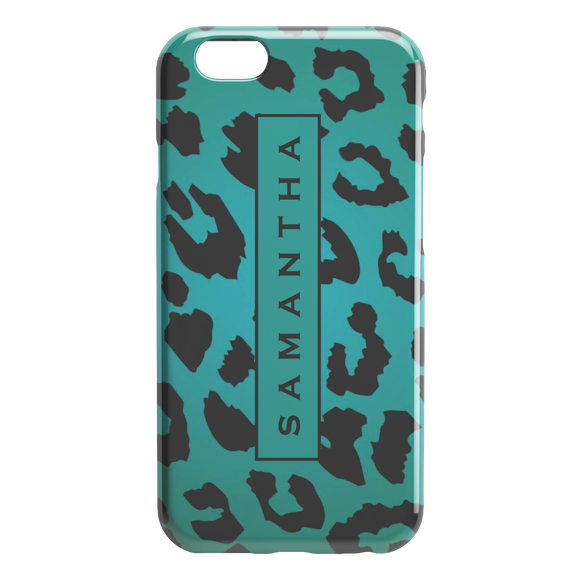 Personalized Name iPhone Case Leopard Print Green custom name iPhone skin TL