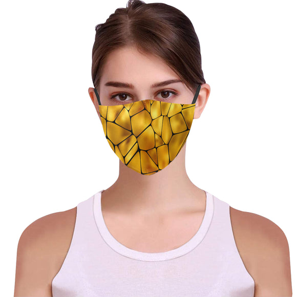 Golden Face Mask Woman Face Cover Elegant Filter Included