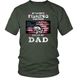 T-shirt My favorite fishing partner calls me dad shirt US flag Father's Day - You Can Print