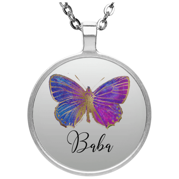 Pendant Butterfly Circle Necklace silver plated CC