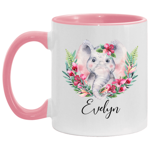 Mug pink elephant custom Evelyn Cut animal Mug 11oz - You Can Print