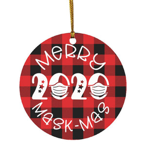 Christmas ornament merry mask mas SUBORNC Circle Ornament CC