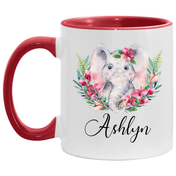 Custom Mug Elephant Ashley name Pink Custom Elephant Mug11OZ Accent Mug CC