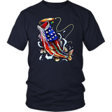 T-Shirt Fishing Tee Independence Day Shirt 4th of July Tee Patriotic tshirt - You Can Print