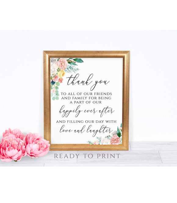 Wedding Thank You Sign Template, Thank You card Sign, Guest Thank You, Thank You Poster, Reception Signage, Printable Thank You, PDF, PB You Can Print