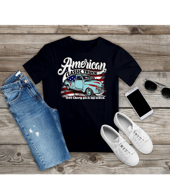 T-Shirt American Classic Truck Shirt Patriotic Shirt Car Lover Tee - You Can Print